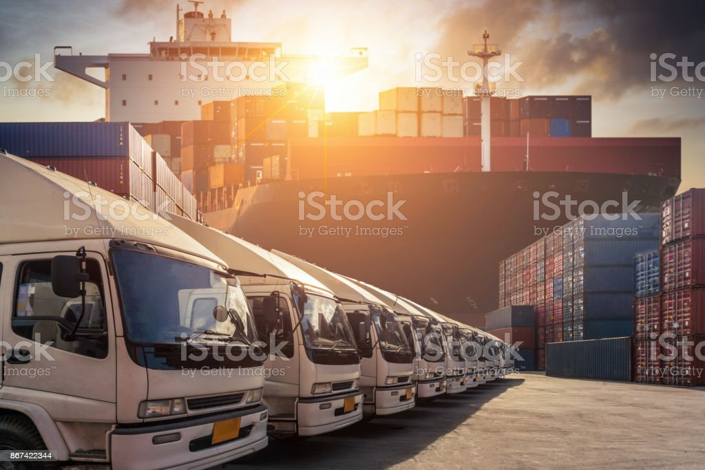 Containers in the port at Thailand stock photo
