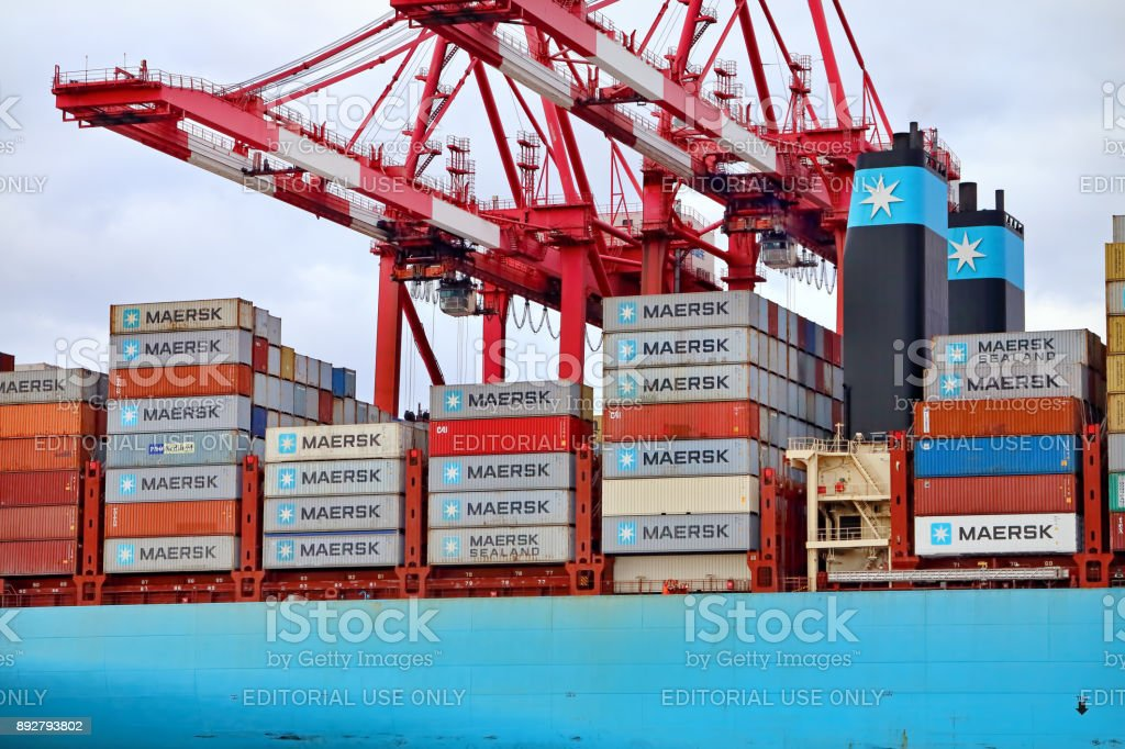 Containers loaded on Maersk Line ship stock photo