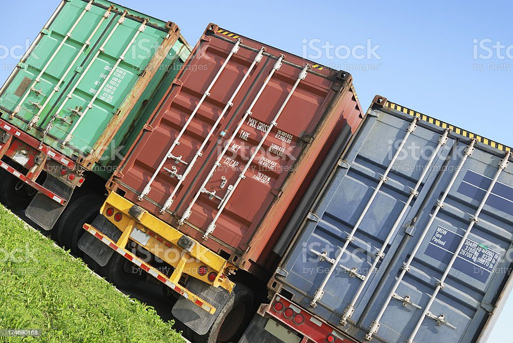 Containers on truck trailers stock photo