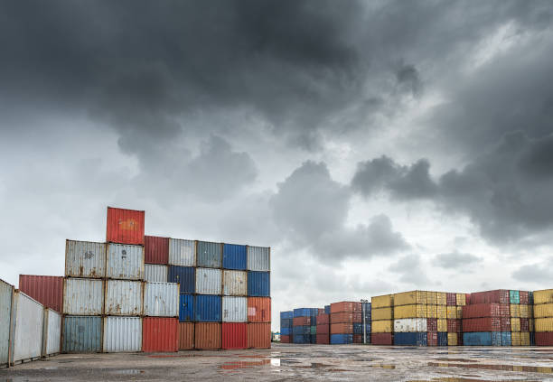 Containers Containers lot in a rainy day in Miami. customs official stock pictures, royalty-free photos & images
