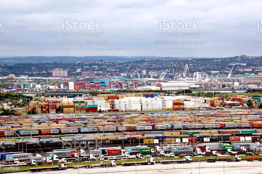 Containers Queued And Stacked At Durban Harbor Entrance stock photo