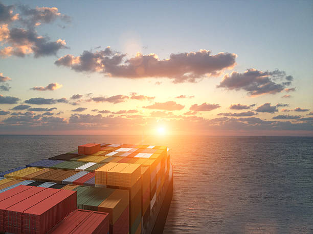 Containers ship sea cargo freight transportation stock photo