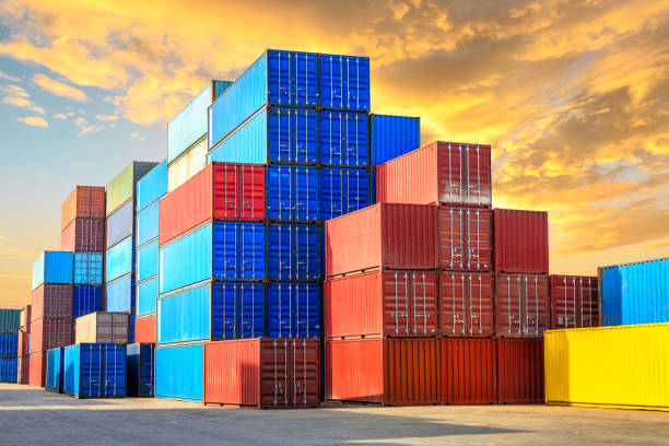 Containers stacked on commercial docks in Shanghai stock photo