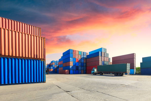Containers stacked on commercial docks in Shanghai,modern logistics transportation scene stock photo