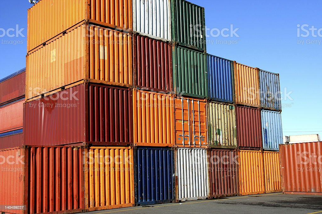 Containers waiting to be loaded royalty-free stock photo