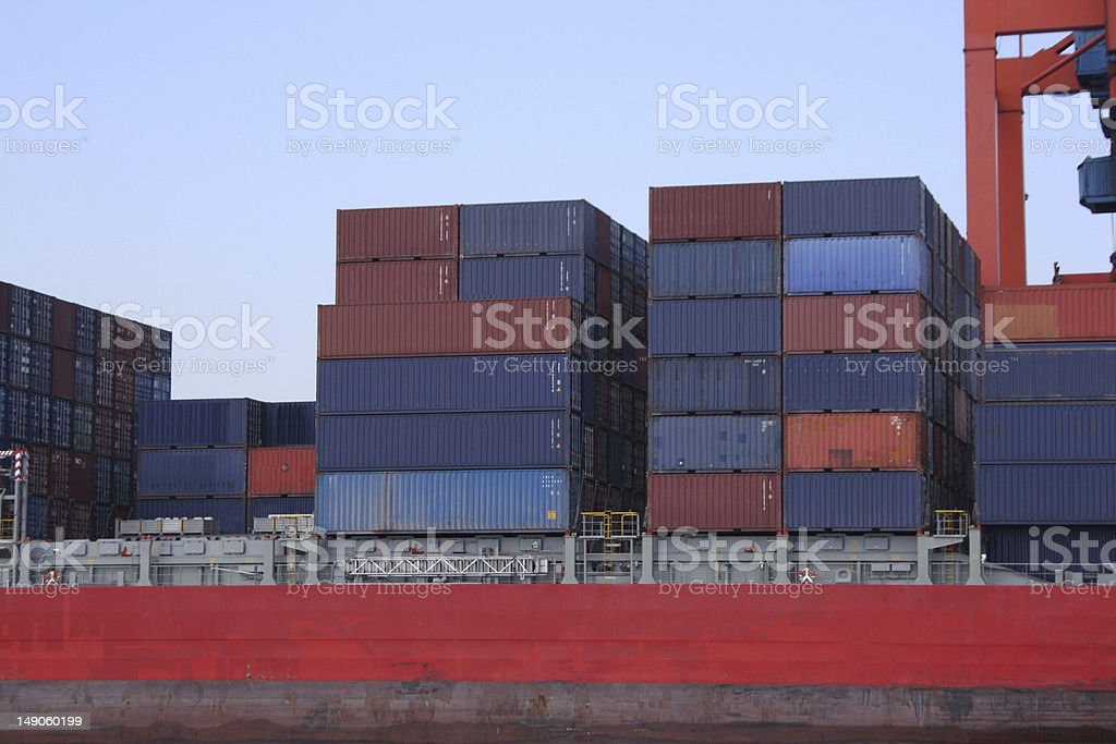 Containers waiting to be loaded stock photo
