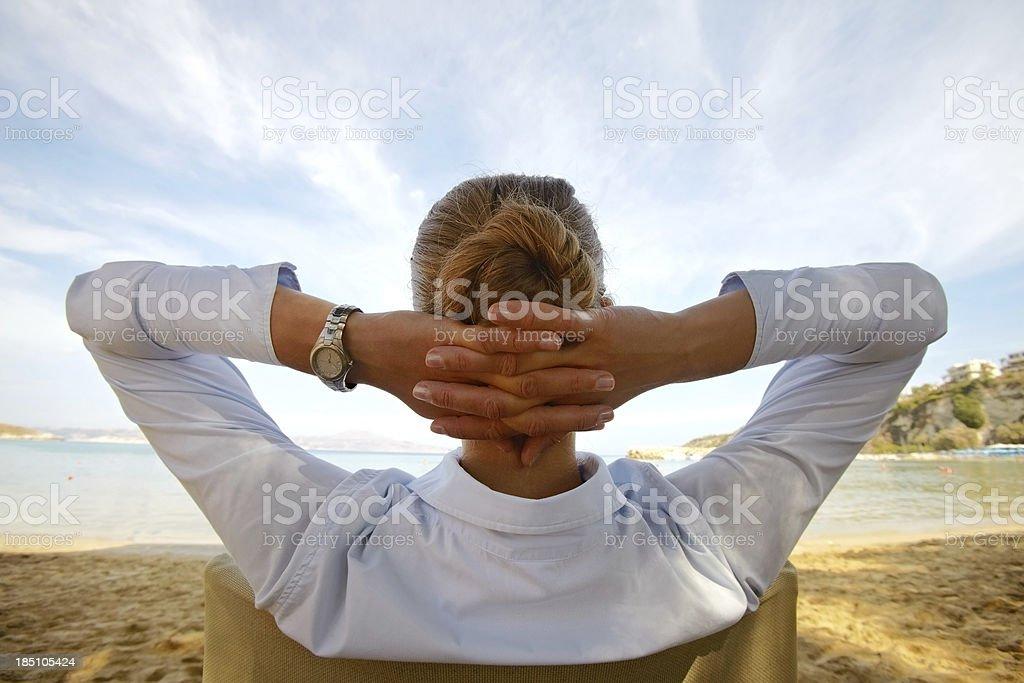 Contemplating businesswoman stock photo