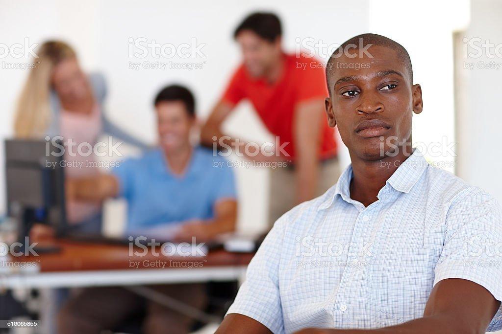 Contemplating his career stock photo