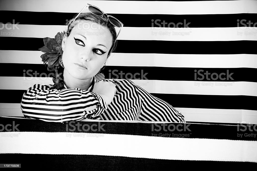 Contemplating in BW royalty-free stock photo