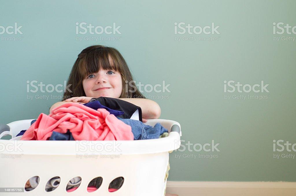 contemplating laundry stock photo
