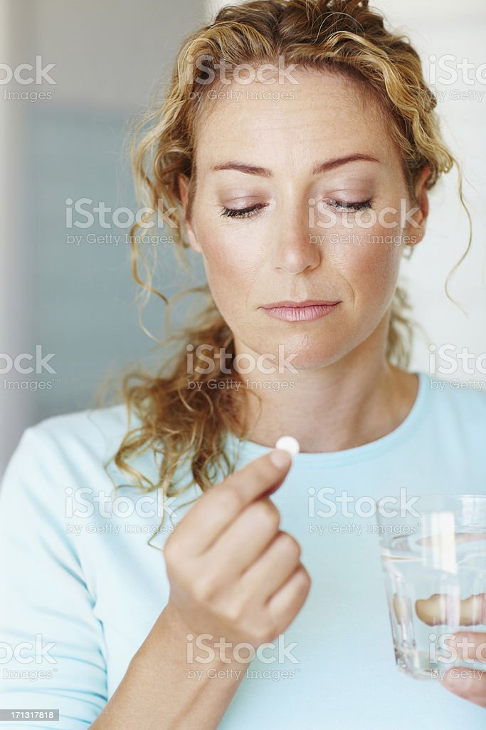 Contemplating the side-effects stock photo
