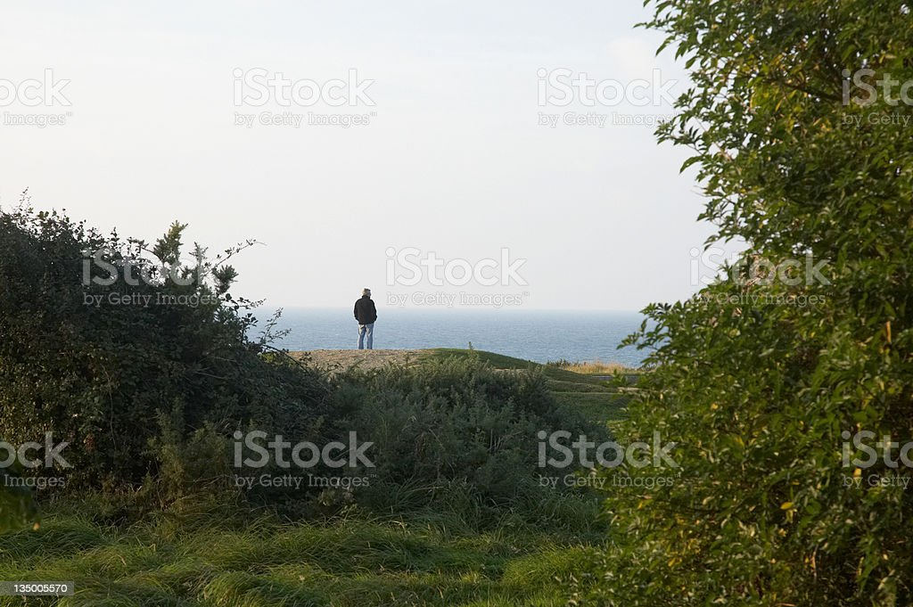 Contemplation at Pointe Du Hoc royalty-free stock photo