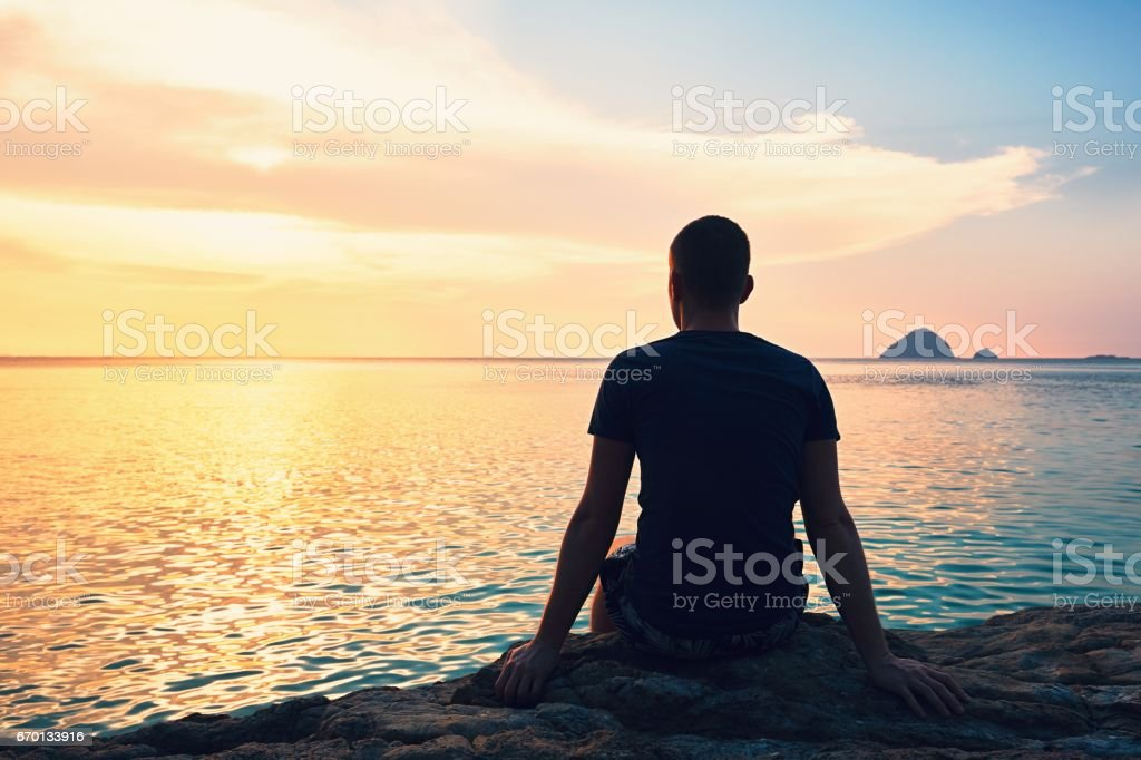 Contemplation at the sunset stock photo