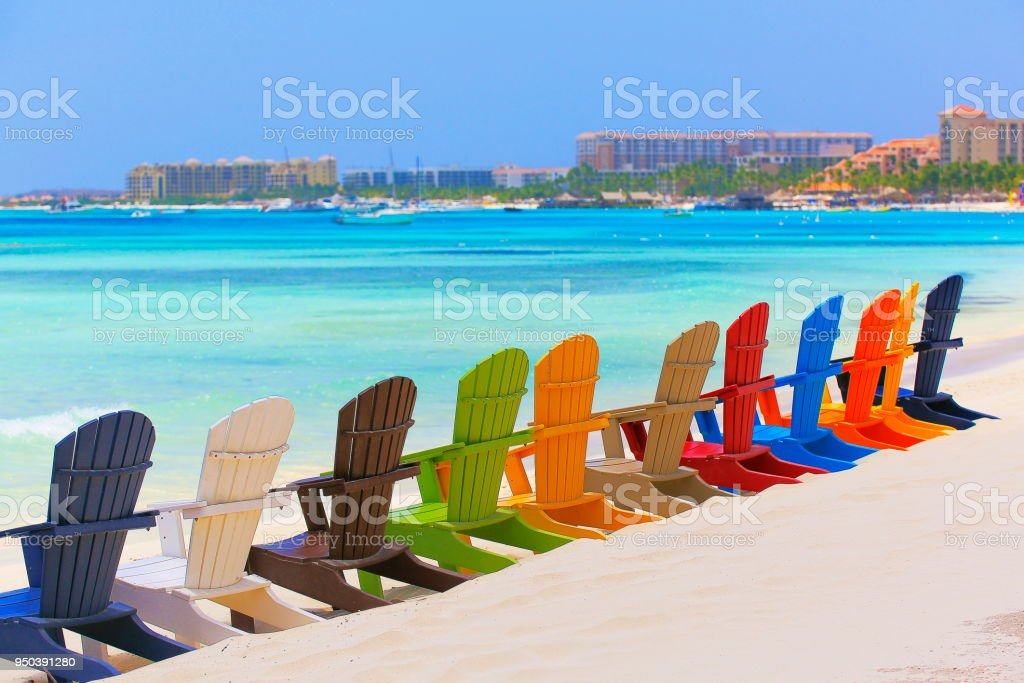 Contemplation Beach With Colorful Outdoor Adirondack Chairs ...