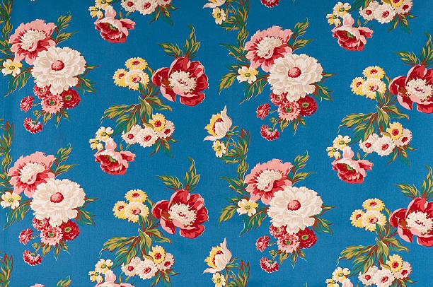 Contemplation Blue Medium Antique Floral Fabric stock photo