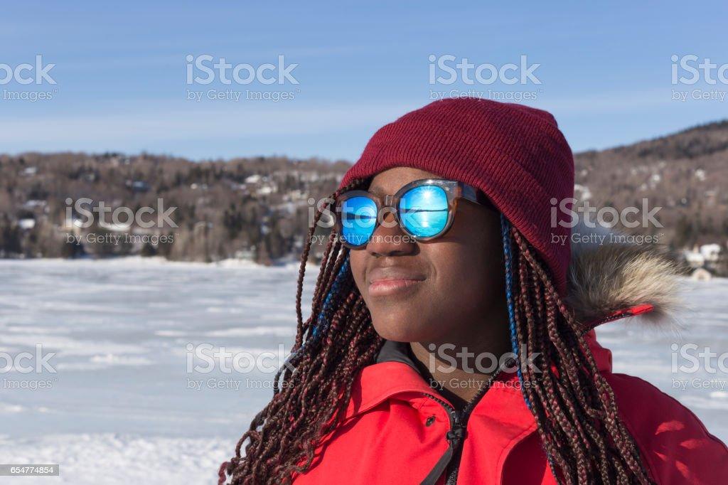 Contemplation on frozen lake stock photo