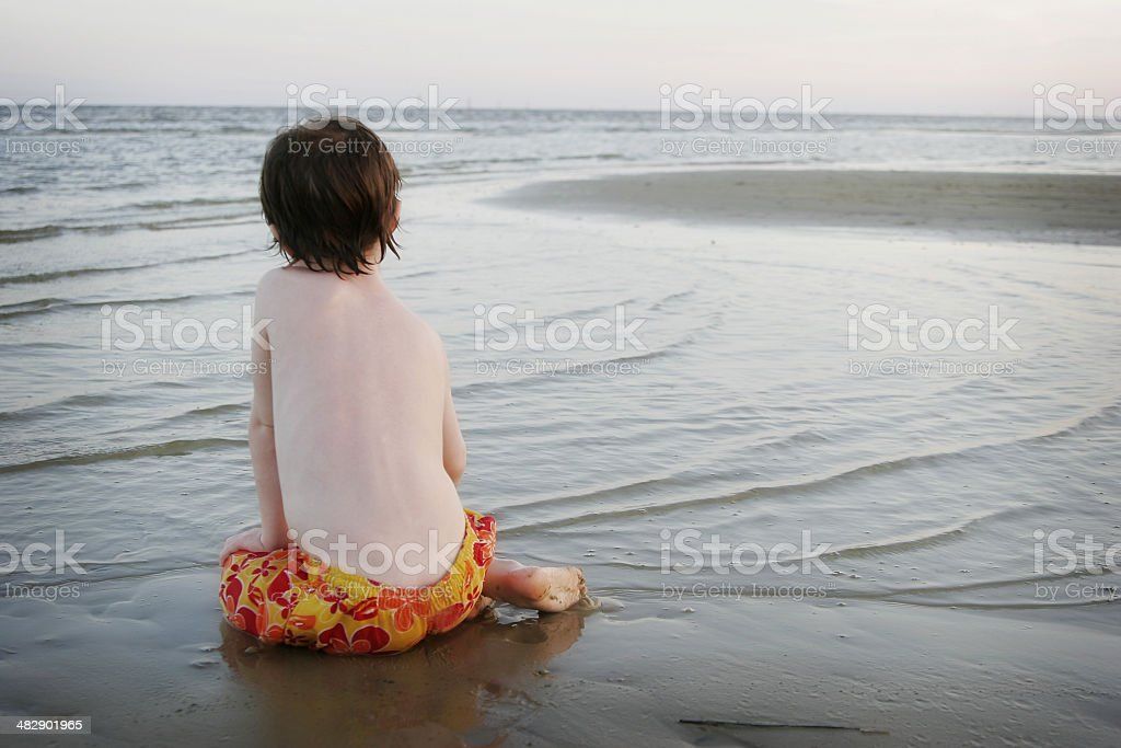 Contemplation on the Beach royalty-free stock photo