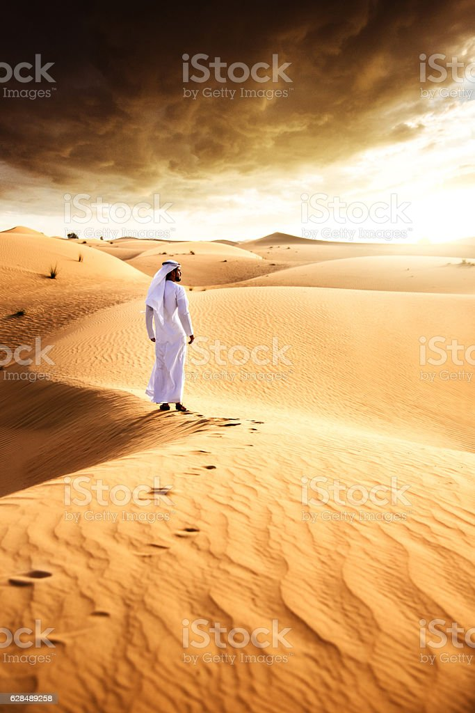 contemplation on the desert stock photo