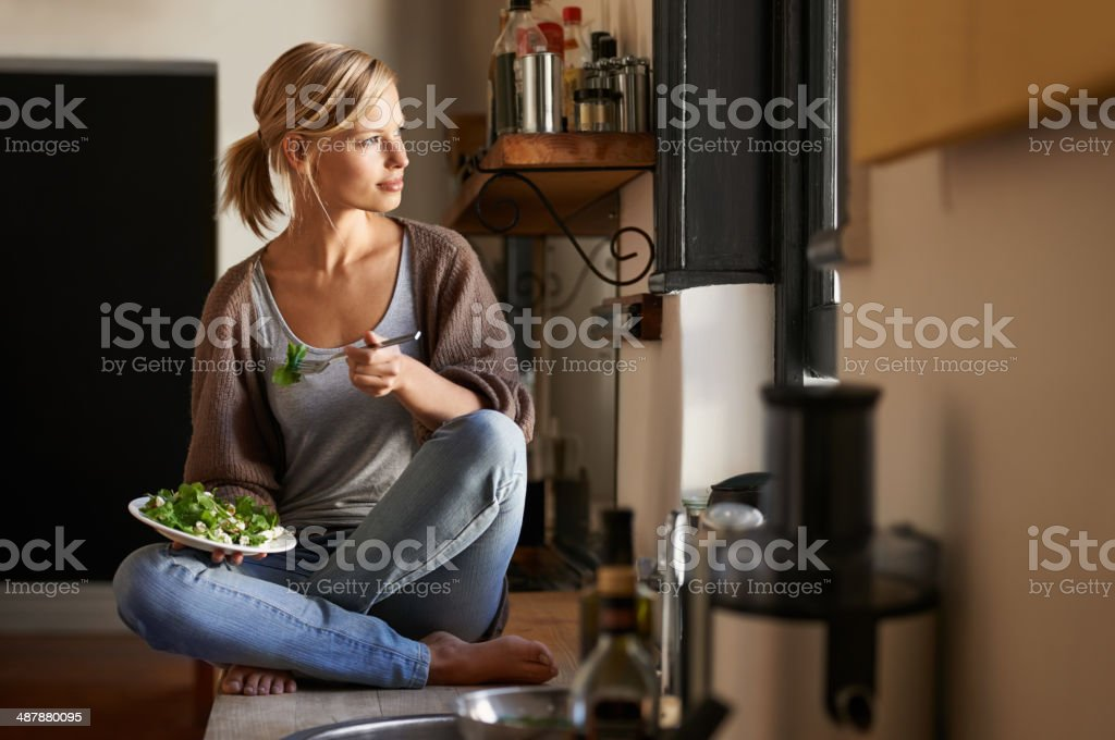 Contemplation over a healthy lunch stock photo