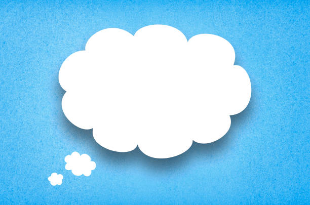 Contemplation White paper thought bubble. White paper cloud with blue cardboard background. thought bubble stock pictures, royalty-free photos & images