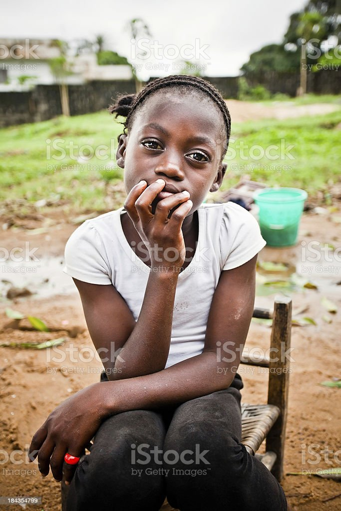 Contemplative African Girl stock photo