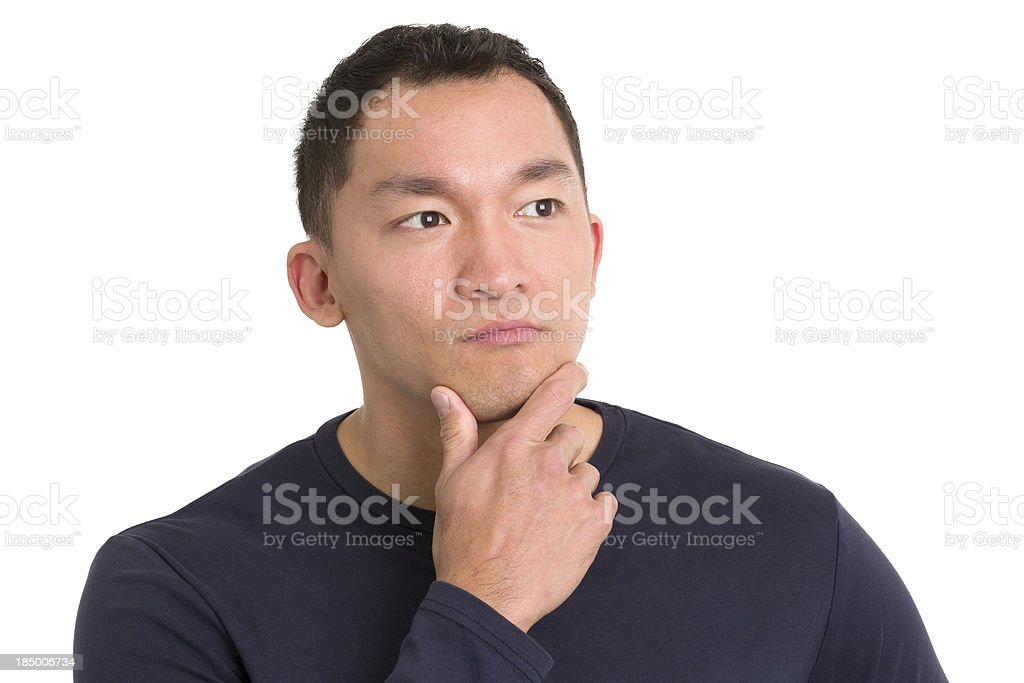 Contemplative Asian Man royalty-free stock photo