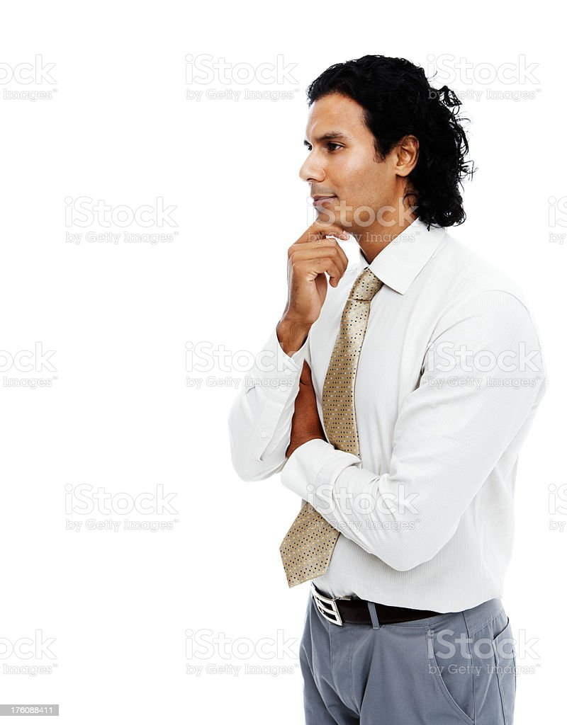 Contemplative businessman on white background royalty-free stock photo