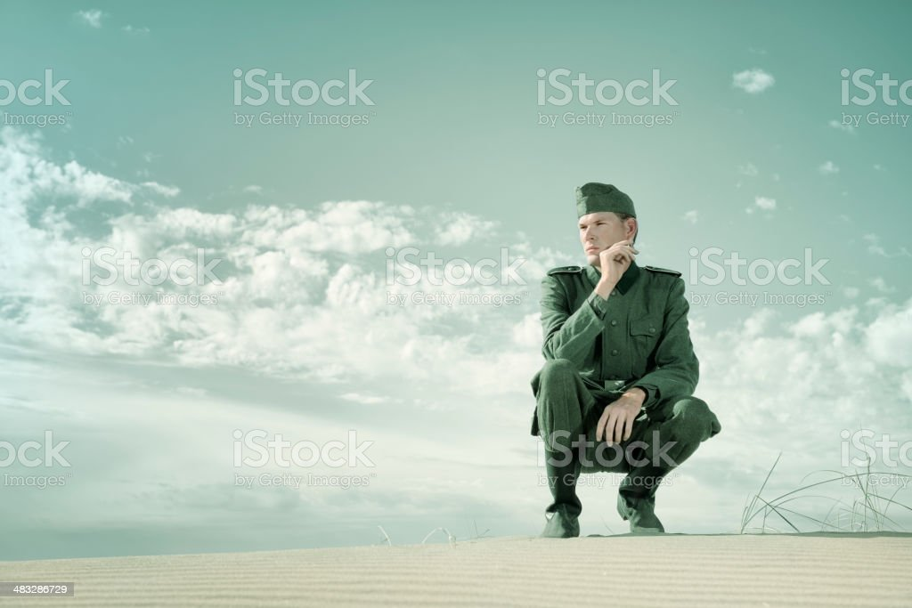 Contemplative German Soldier stock photo