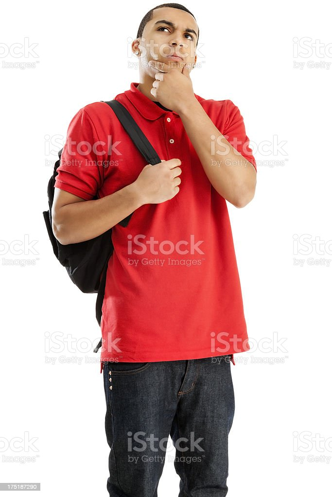 Contemplative Student with Book Bag stock photo