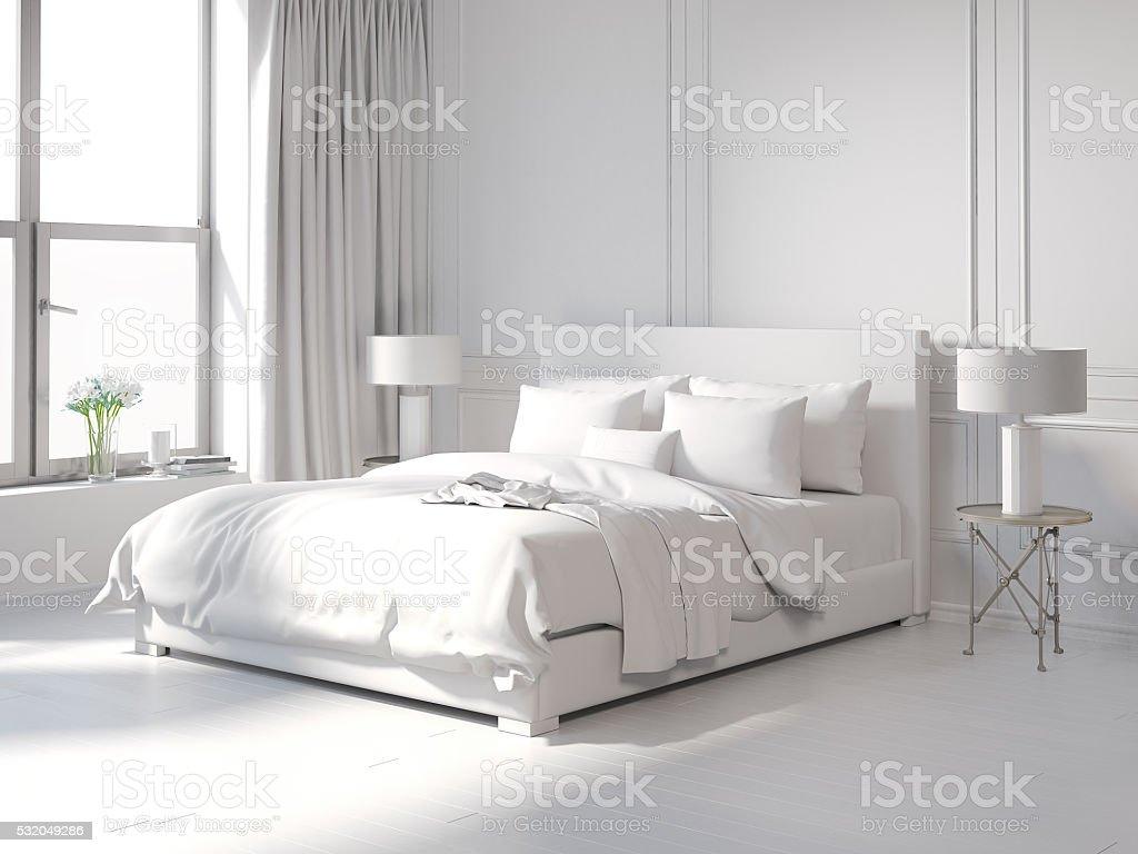 Contemporary all white bedroom圖像檔