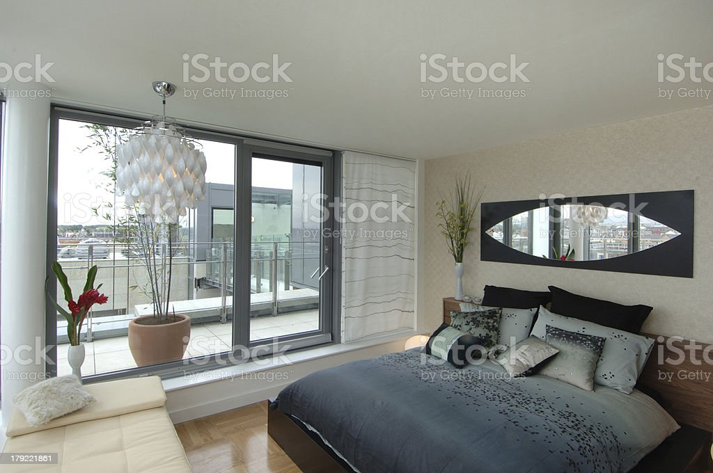 Contemporary Apartment Bedroom with Terrace - Royalty-free Architecture Stock Photo