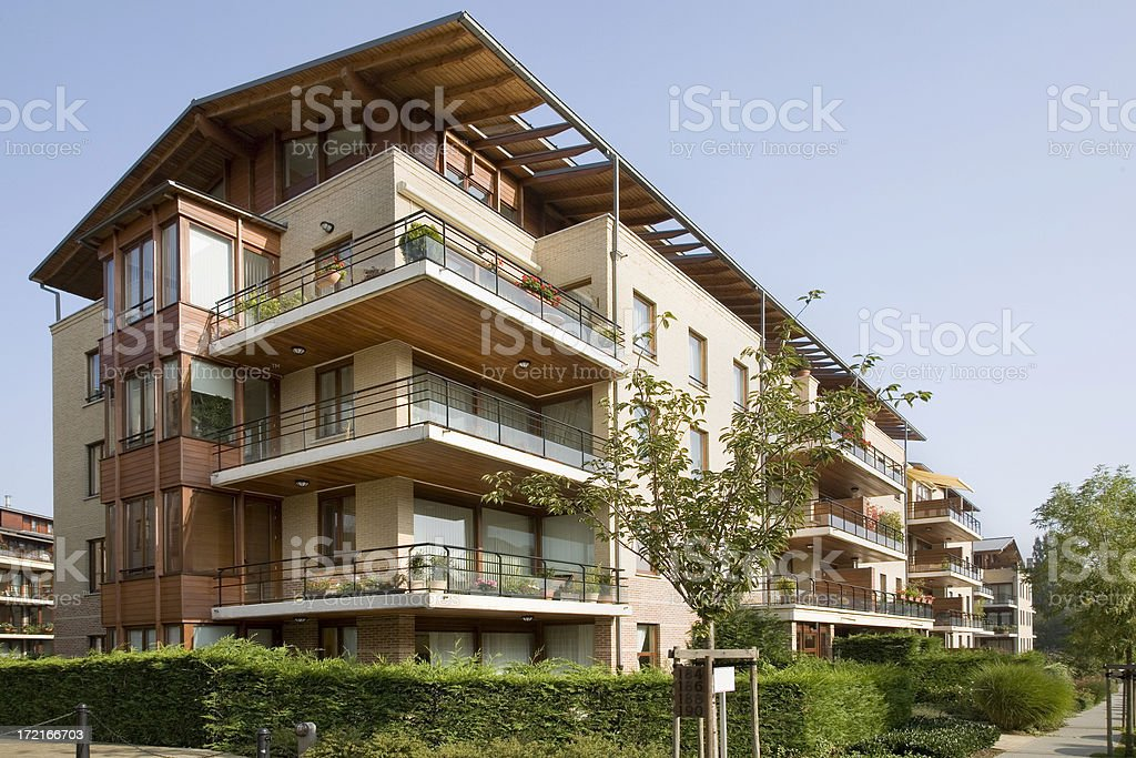"Contemporary apartment building ""New modern apartment building. Location, Brussels, Belgium."" Apartment Stock Photo"