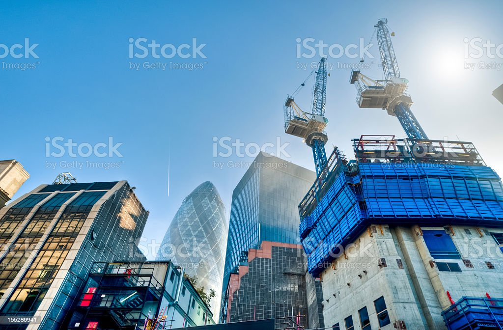 Contemporary architecture and construction site in London royalty-free stock photo