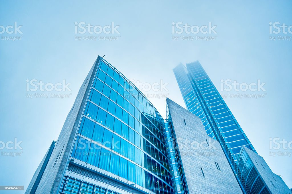 Contemporary Architecture In The Fog, Milan, Early Morning, Italy. stock photo