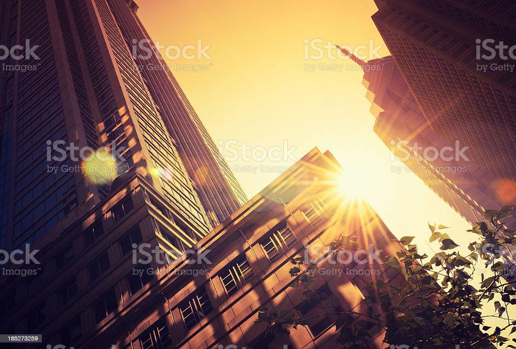 Contemporary architecture skyscraper against sun in Philadelphia stock photo