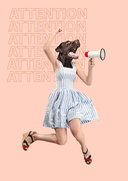 contemporary art collage or portrait of surprised dog headed woman - surrealistyczny zdjęcia i obrazy z banku zdjęć