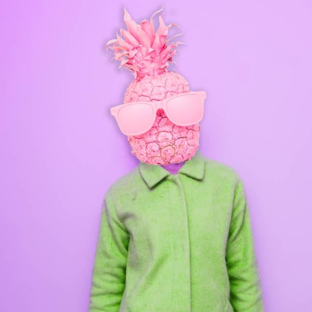 zeitgenössische kunst collage. - neon partylebensmittel stock-fotos und bilder