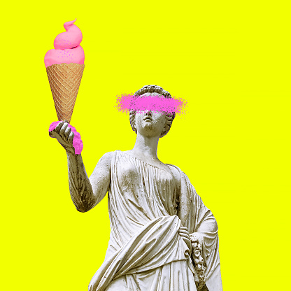 Contemporary art collage. Sculpture renaissance Woman and big Ice cream