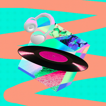Contemporary art collage colorfull retro vibes concept