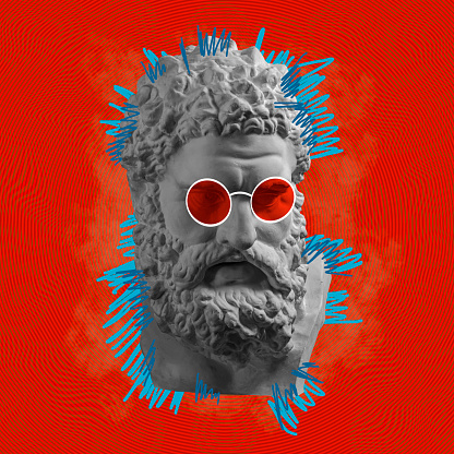 Contemporary art concept collage with antique statue head in a zine culture style. Male beard face with glasses. Modern pop art.