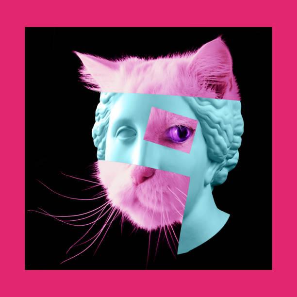 cartel de arte contemporáneo con la antigua estatua de venus cabeza y los detalles de la cara de un gato vivo. - cat vaporwave fotografías e imágenes de stock