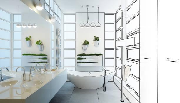 adaptação de casa de banho contemporânea (rascunho) - banheiro doméstico - fotografias e filmes do acervo