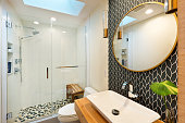 istock Contemporary Bathroom Design with Above Counter Vessel Sink and Vanity Glass Shower Stall and Toilet 1272832267