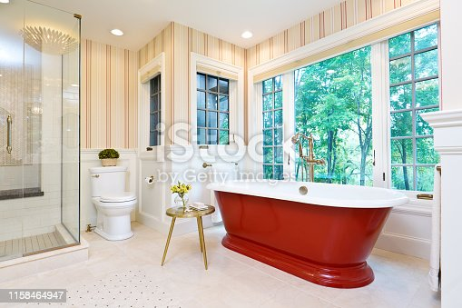 A contemporary modern bathroom design. featuring a contemporary classic freestanding cast iron bathtub against a scenic window.