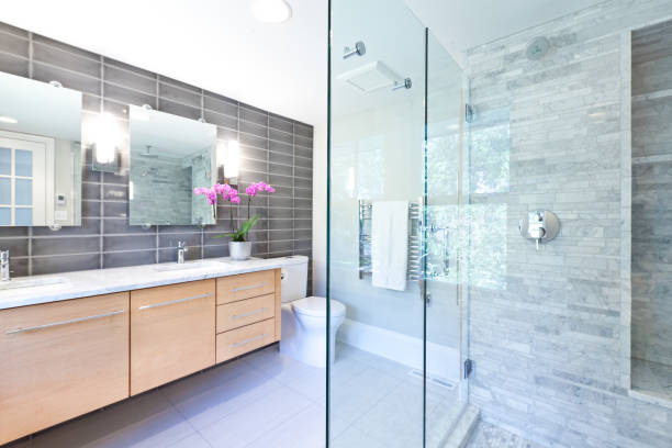 contemporary bathroom design with glass shower stall - bathroom renovation stock photos and pictures
