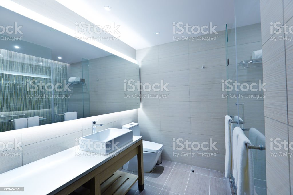 Contemporary Bathroom Design with Glass Shower Stall stock photo