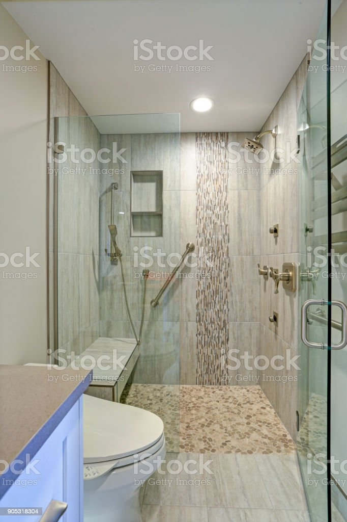 Contemporary bathroom design with walk-in shower. stock photo
