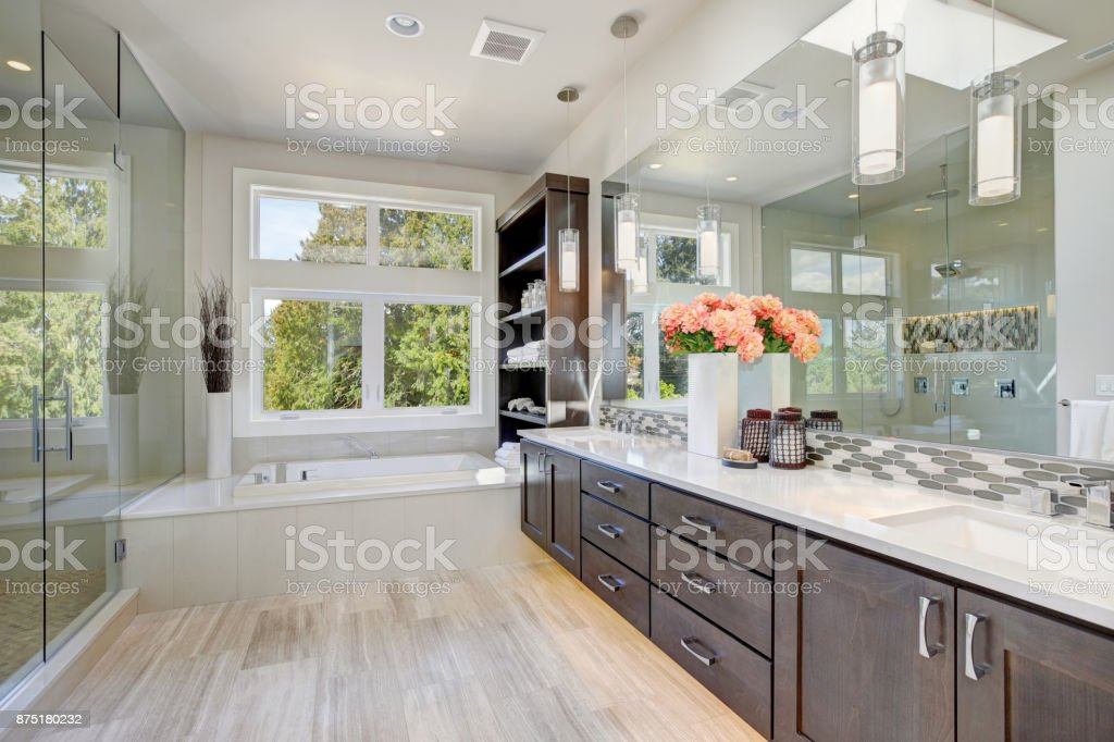Contemporary bathroom interior stock photo