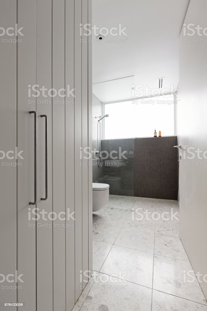 Contemporary bathroom of mosaic tiles and walk in shower with storage cupboard stock photo