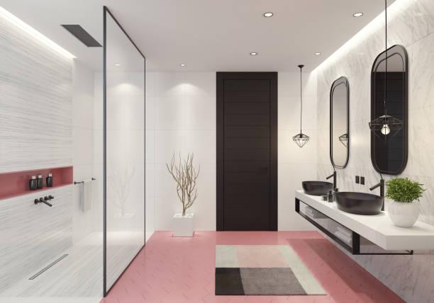 Moderne Badezimmer mit hell rosa Waben Fliesen – Foto